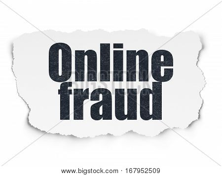 Protection concept: Painted black text Online Fraud on Torn Paper background with  Hexadecimal Code