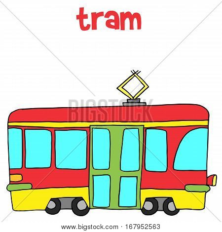 Collection of tram vector art illustration stock