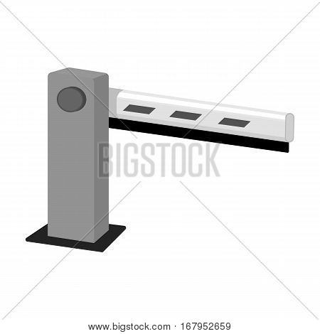 Parking barrier icon in monochrome design isolated on white background. Parking zone symbol stock vector illustration.