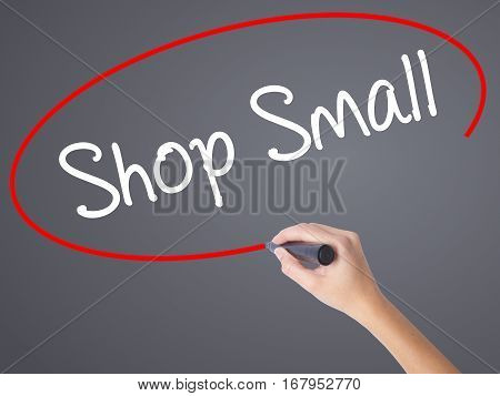 Woman Hand Writing Shop Small With Black Marker On Visual Screen