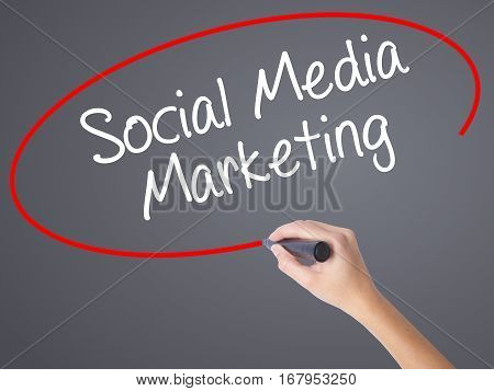 Woman Hand Writing Social Media Marketing With Black Marker On Visual Screen