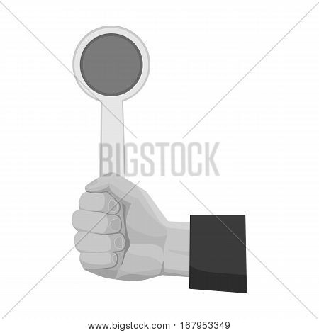 Hand holding stop sign icon in monochrome design isolated on white background. Parking zone symbol stock vector illustration.