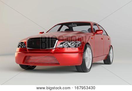 Brandless Generic Red Car. Studio Background. 3d Rendering