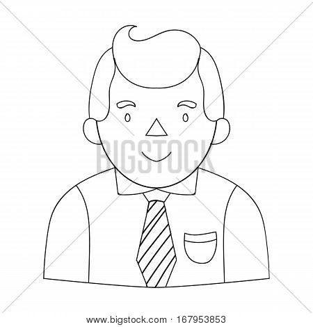 Businessman icon in outline design isolated on white background. Conference and negetiations symbol stock vector illustration.