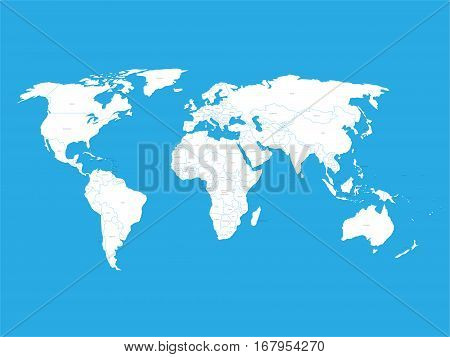 Political vector World Map with state name labels. White land with black text on blue background. Hand drawn simplified illustration.