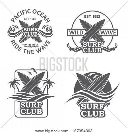 Collection of of surfing emblems with sea wave. Vector illustration
