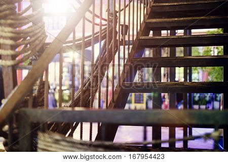 stairway at night and background photo stock