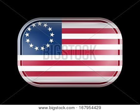 American Betsy Ross Flag. Rectangular Shape With Rounded Corners