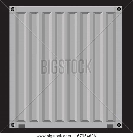 Cargo container for shipping with flat solid color design. Blue color.