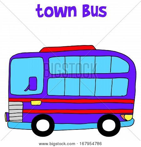 Vetcor illustration of town bus collection stock