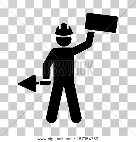 Builder With Brick icon. Vector illustration style is flat iconic symbol, black color, transparent background. Designed for web and software interfaces.