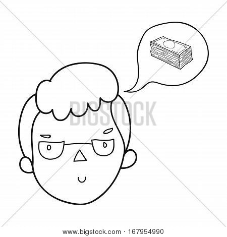 Businessman dreaming about money icon in outline design isolated on white background. Conference and negetiations symbol stock vector illustration.