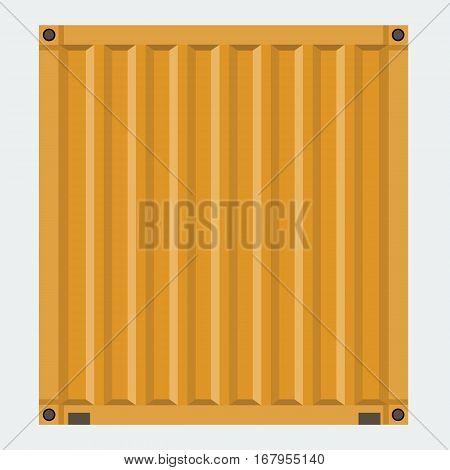 Cargo container for shipping with flat solid color design. Orange color.