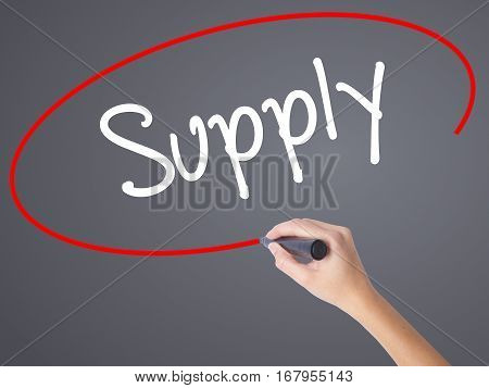 Woman Hand Writing Supply With Black Marker On Visual Screen
