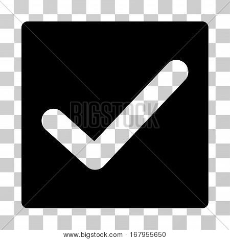 Check icon. Vector illustration style is flat iconic symbol, black color, transparent background. Designed for web and software interfaces.
