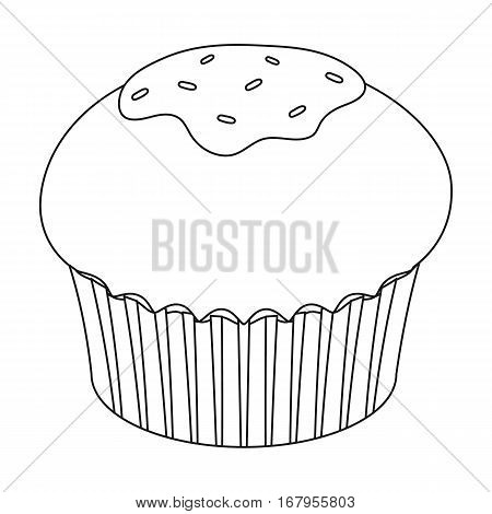 Chocolate cupcake icon in outline design isolated on white background. Chocolate desserts symbol stock vector illustration.