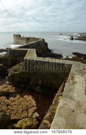 A view along the zig zag pier at St. Monans