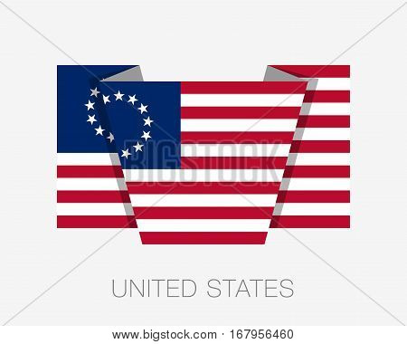 American Betsy Ross Flag. Flat Icon Wavering Flag With Country Name