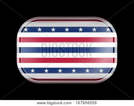 Stars And Stripes Flag. Rectangular Shape With Rounded Corners