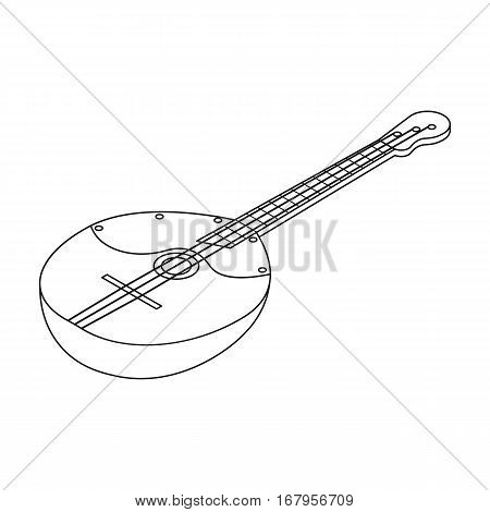 Domra icon in outline design isolated on white background. Musical instruments symbol stock vector illustration.