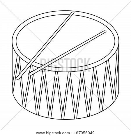 Drum icon in outline design isolated on white background. Musical instruments symbol stock vector illustration.