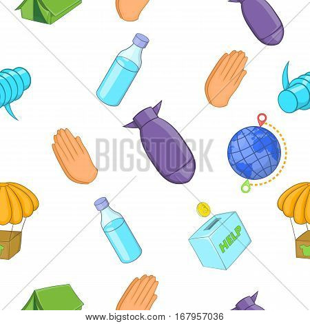 Refugees pattern. Cartoon illustration of refugees vector pattern for web