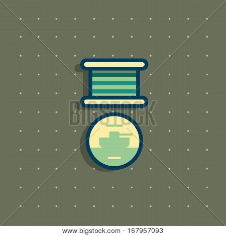 Icon of public commemorative medal with tank. Award for day of defenders of fatherland for his merits to the homeland. Modern colorful flat style. Army force rewards icons.