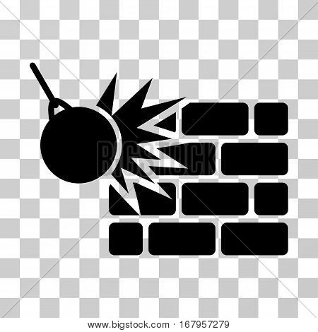 Destruction icon. Vector illustration style is flat iconic symbol, black color, transparent background. Designed for web and software interfaces.