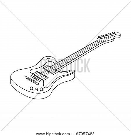Electric guitar icon in outline design isolated on white background. Musical instruments symbol stock vector illustration.