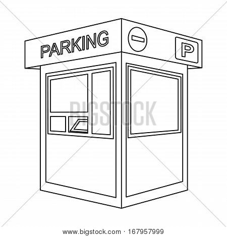 Parking toll booth icon in outline design isolated on white background. Parking zone symbol stock vector illustration.