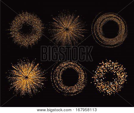 Gold glitter texture set in abstract form on a black background. Golden grainy abstract texture. Golden confetti background. Luxury Design. Vector illustration.