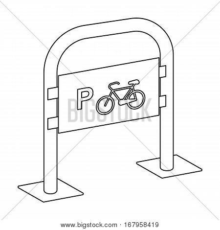 Bicycle parking icon in outline design isolated on white background. Parking zone symbol stock vector illustration.