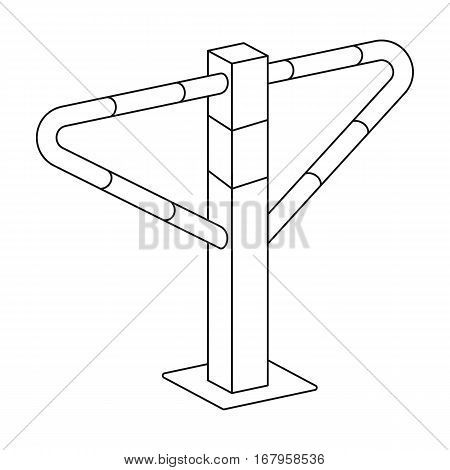 Parking construction barricade icon in outline design isolated on white background. Parking zone symbol stock vector illustration.