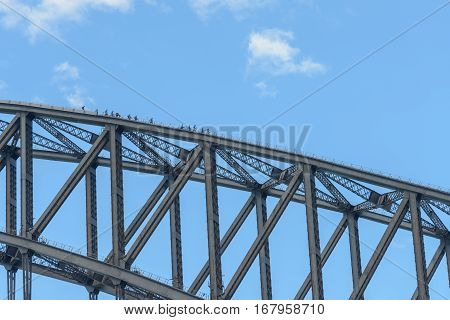 SYDNEY AUSTRALIA - OCTOBER 11 2016: Tourists climb up to top of Sydney Harbour Bridge