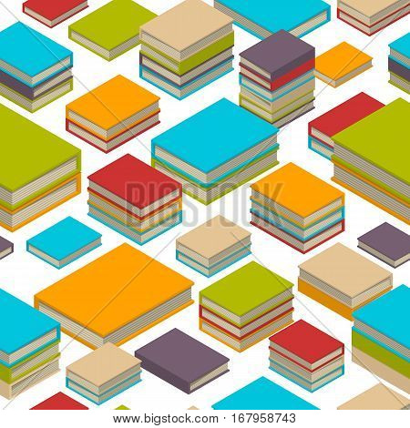 Seamless pattern of new 3d colorful books and tutorials. Isometric flat class books and textbooks wallpaper. Education symbol background. Illustration vector art.