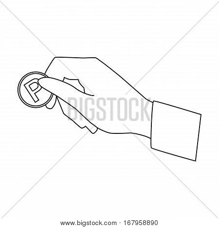 Hand holding coin for parking meter icon in outline design isolated on white background. Parking zone symbol stock vector illustration.
