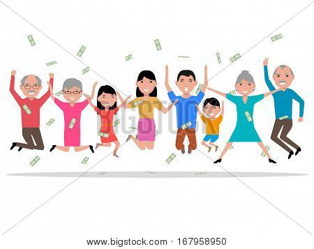 Vector illustration of a cartoon happy people received the money, the prize winnings. Isolated on white background. Happy family won a prize. Falling from above money to people. Flat style.