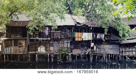 Home waterfront slums in the city photo