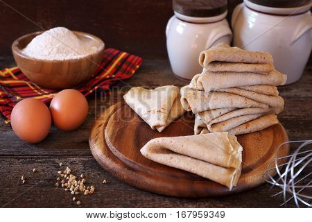 Breton buckwheat crepes and ingredients, rustic style