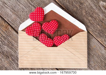 Hearts fly out from the envelope. Love Letter. Background Valentine's day.