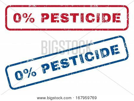 0 Percent Pesticide text rubber seal stamp watermarks. Vector style is blue and red ink caption inside rounded rectangular banner. Grunge design and dust texture. Blue and red emblems.