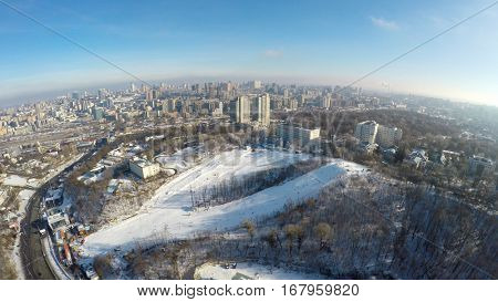 Aerial view of ski slope in Protasov Yar, Kiev, Ukraine