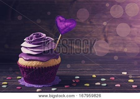 Cupcake with rose for valentine's day
