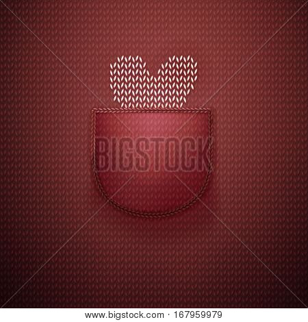 White knitted heart in wool knitted burgundy pocket. Knitted textile background for Valentines Day. Vector illustration