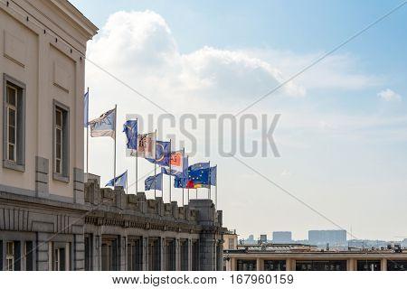 BRUSSELS, BELGIUM - June 8, 2016 : Exterior of the building of the European Parliament in Brussels, Belgium. it exercises the legislative function of the EU.June 16, 2016, BRUSSELS, BELGIUM