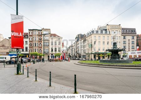 BRUSSELS, BELGIUM - June 8, 2016. Street view of old town in Brussels city, with a population of over 1.8 million, the largest in Belgium.