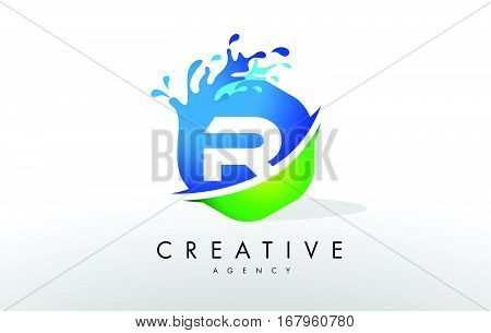 R Letter Logo. Blue Green Splash Design Vector with Water Drops.
