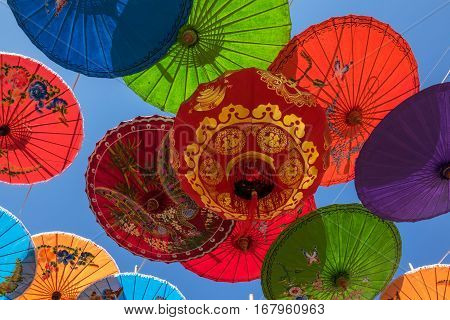 Chinese Lantern With Umbrellas traditional decoration of chinese festivals like chinese new year