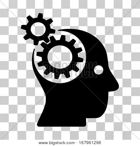 Intellect Gears icon. Vector illustration style is flat iconic symbol, black color, transparent background. Designed for web and software interfaces.