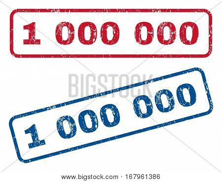 1 000 text rubber seal stamp watermarks. Vector style is blue and red ink tag inside rounded rectangular shape. Grunge design and scratched texture. Blue and red stickers.